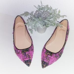 New J.Crew Pointed-toe Flats in Tweed